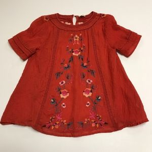 Umgee Red Floral Flower Print Embroidered Blouse